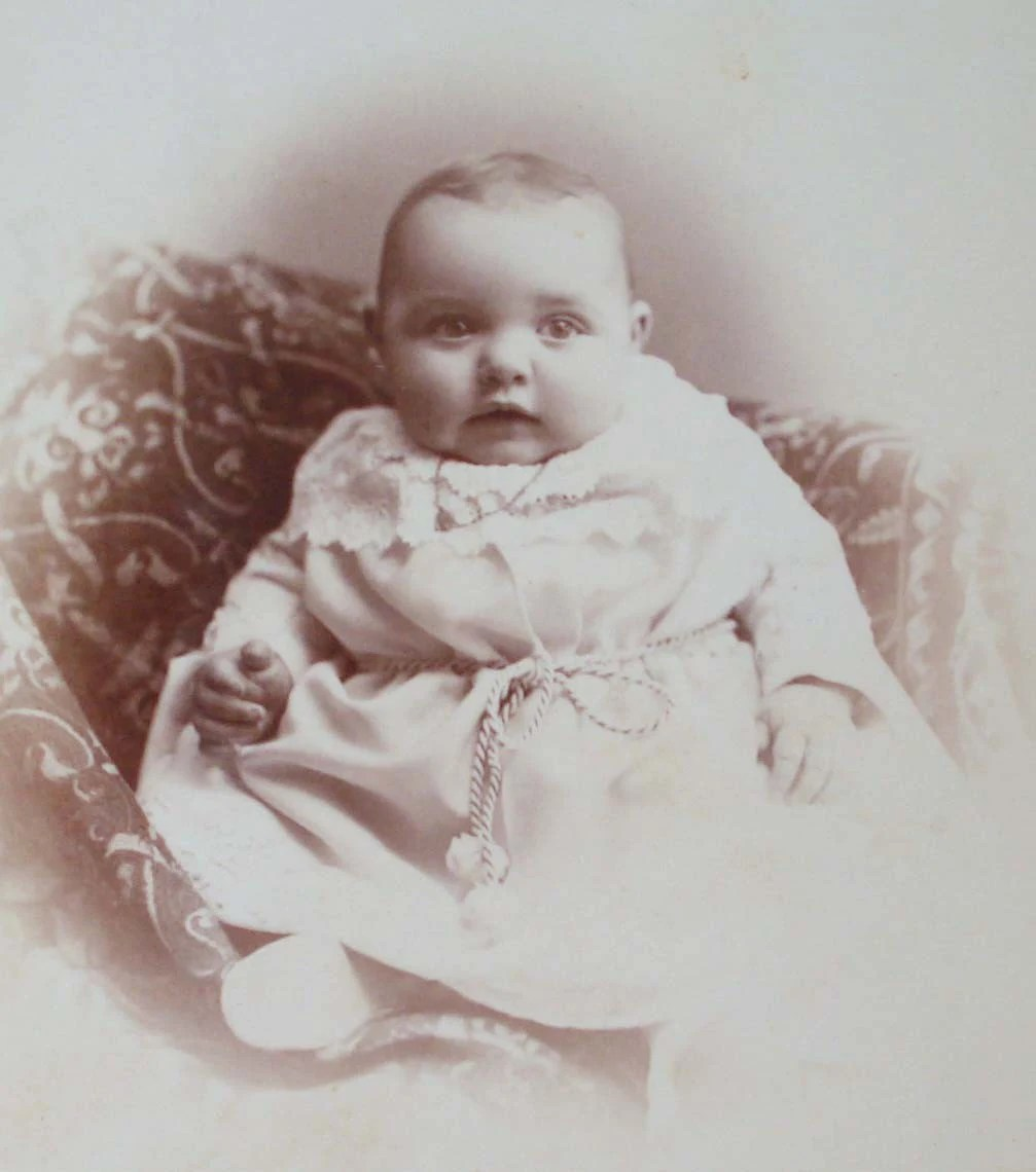 Antique Photograph 1800s Babys First Christmas