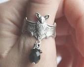 Vampire Gothic Bat ring with black drop pendant