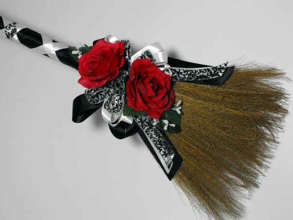 Customized Wedding Brooms By Poseysandpetals On Etsy