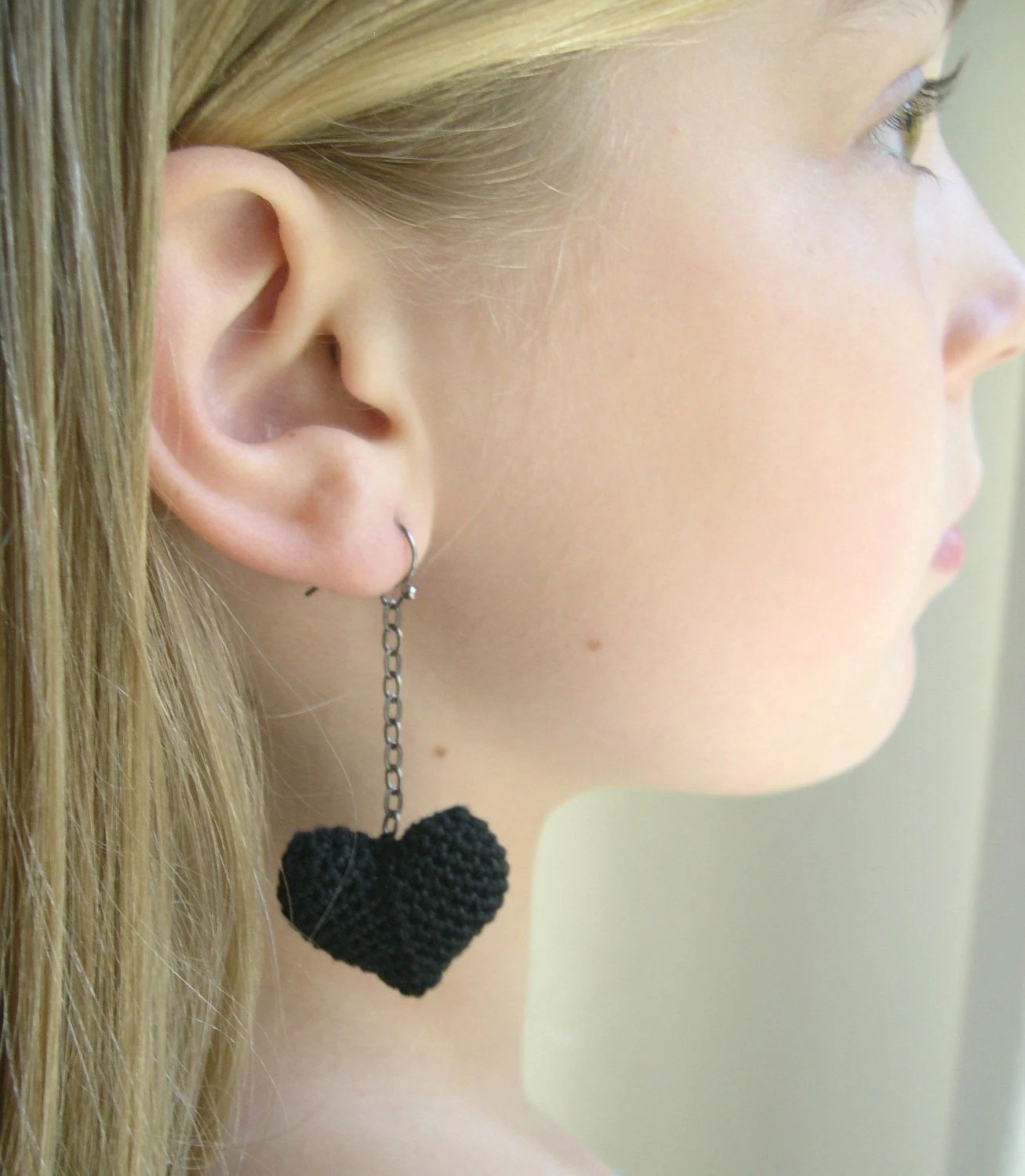 Black Dangle Heart Crochet Earrings - Girlfriend gift idea - Best valentines day present - Gift for her - Lacy Trends 2013 - Statement - MaryKCreation