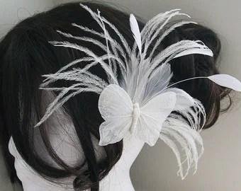 bridal peacock facinator feather hair piece wedding hair