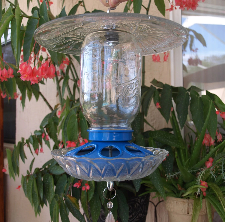 Mason Jar Bird Feeder Repurposed Chicken Feeder Glass Blue
