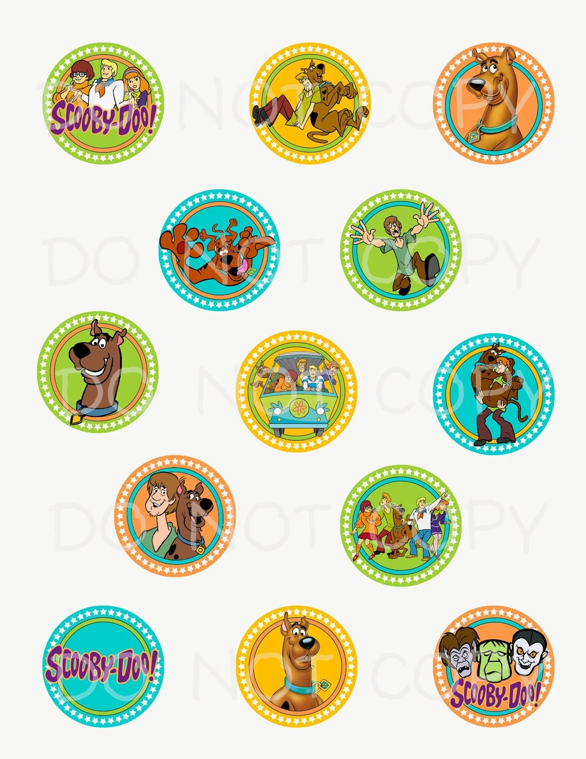 Printable Diy Scooby Doo Theme Cupcake Toppers