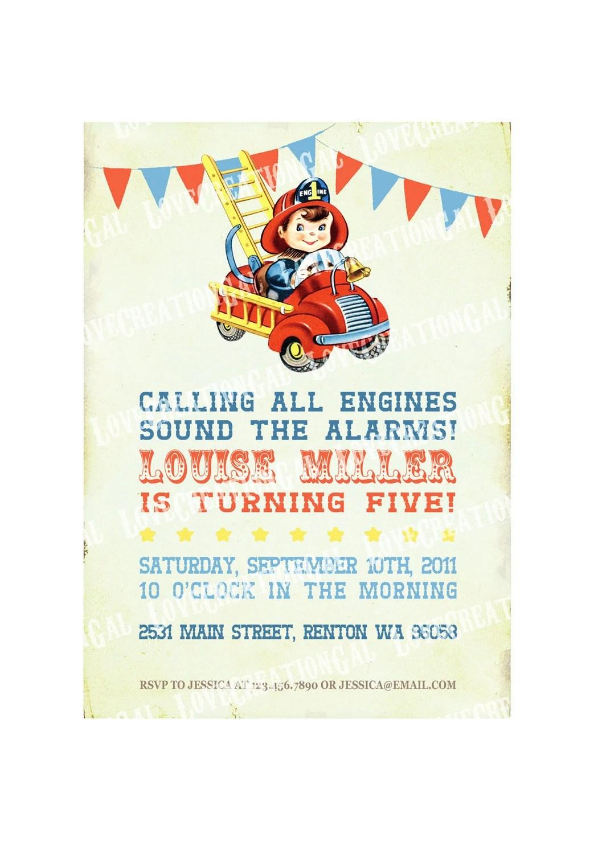 Fire Engine Party Invitation Firefighter Birthday Invitation