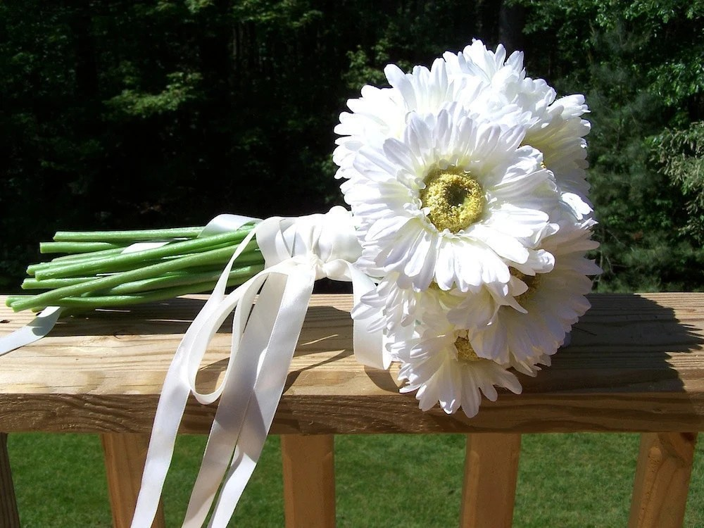 WHITE DAISY Gerbera Brides Wedding Bouquet By