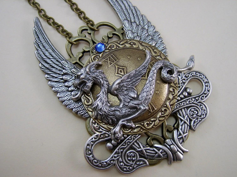 "Steam Punk Dragon Necklace, ""Dragon Tyme"""