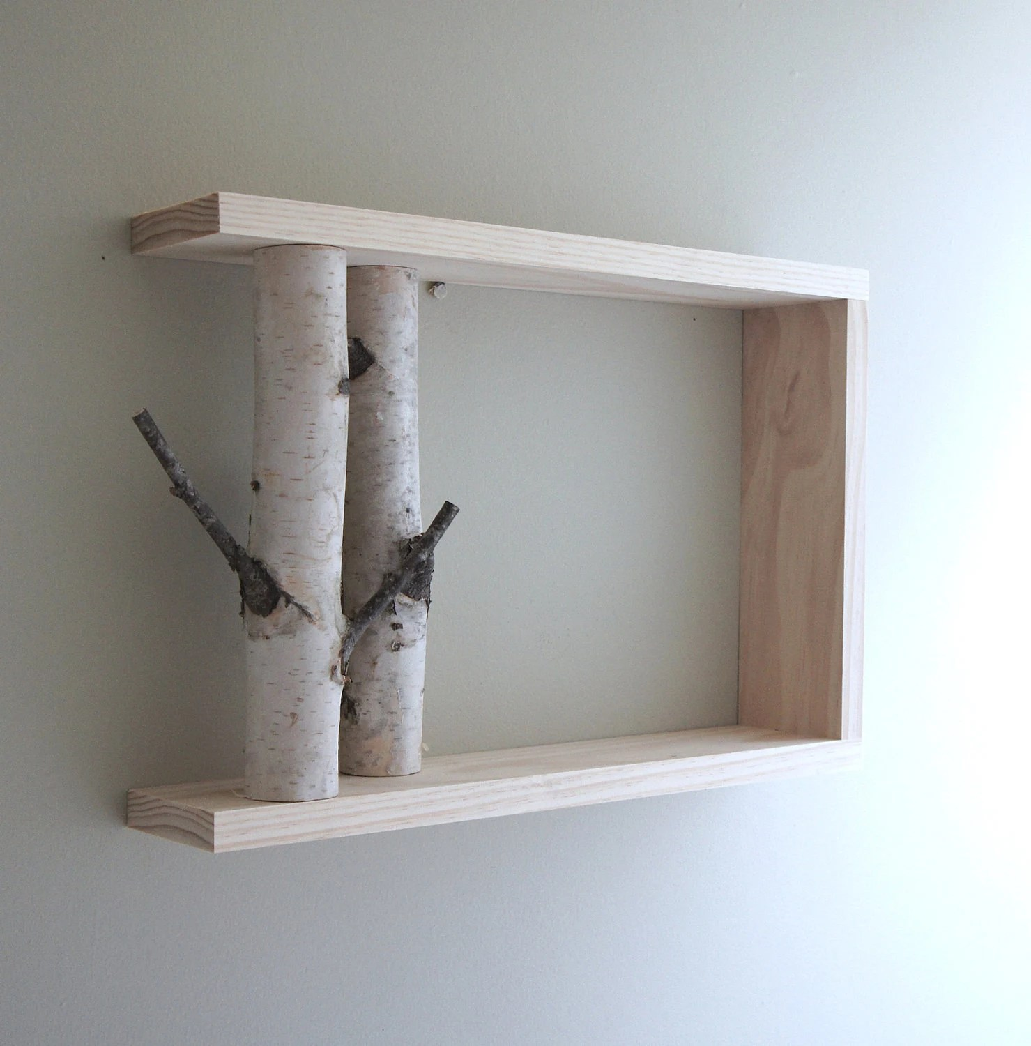 white birch forest - natural white birch wood wall art/shelf - made to order