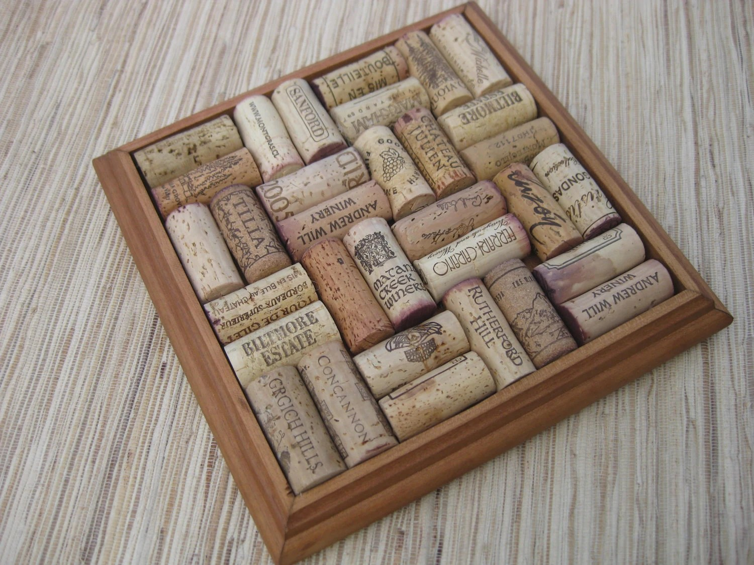 Wine Cork Trivet Made From Reclaimed Wood And Upcycled Oak
