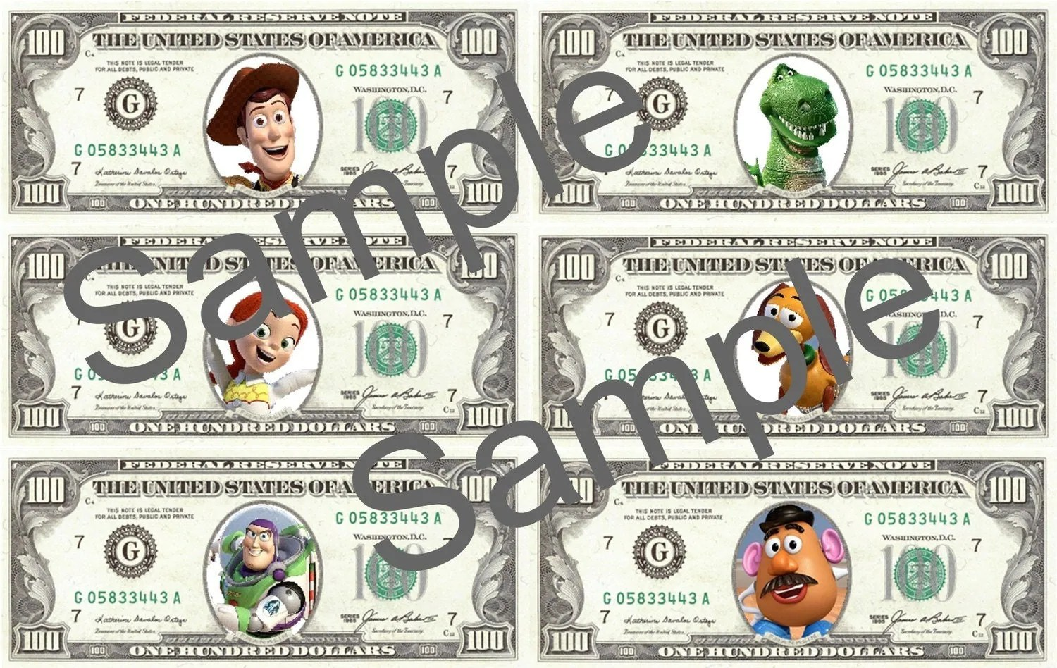 Toy Story Play Money Digital File Print Your Own