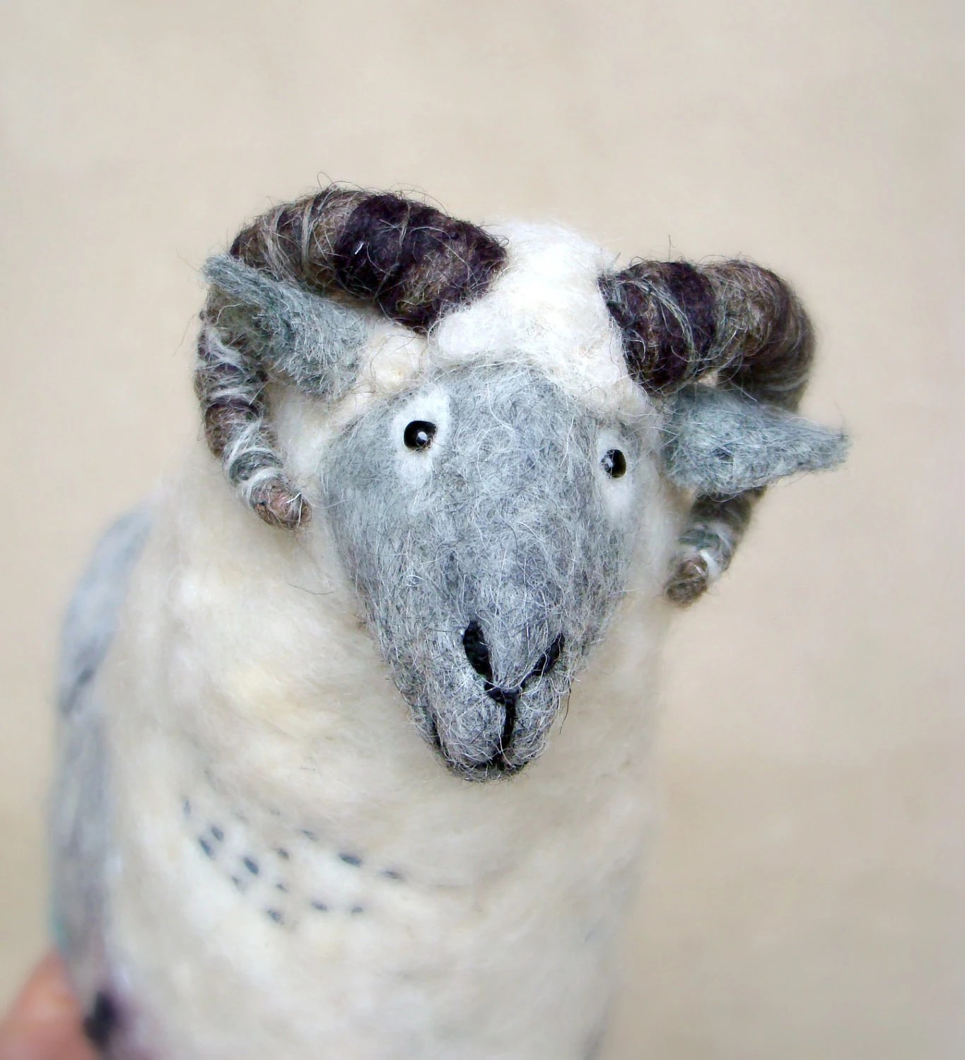 Damir - Felt Ram. Art Marionette. Handmade Puppet. Felted Stuffed Toy. Waldorf Style Sheep. white grey blue neutral rustic. MADE TO ORDER