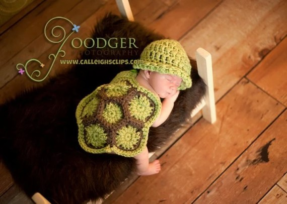 Digital Crochet Pattern No. 13 - The Original Hatchling Turtle- Cuddle Critter Cape Set  - (not a finished product) - calleighsclips