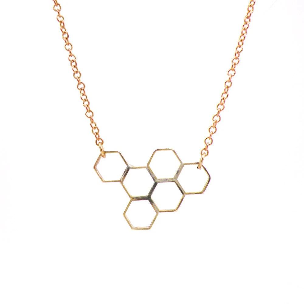 HoneyComb Geometric Necklace Vintage Brass Hexagon Jewelry - Honeycomb - BellaBijouToo