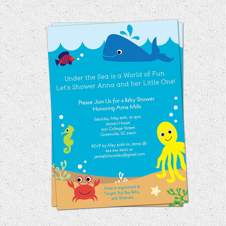 Under The Sea Baby Shower Invitation Creatures Boy Girl