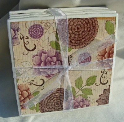 Purple and Brown Floral Handmade Tile Coasters, Set of 4, Nature, Flower, Green, Red, Rose