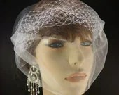 "The French Illusion Double layer Tulle Veil in White 9"" x 15""  Many ways to wear this one"