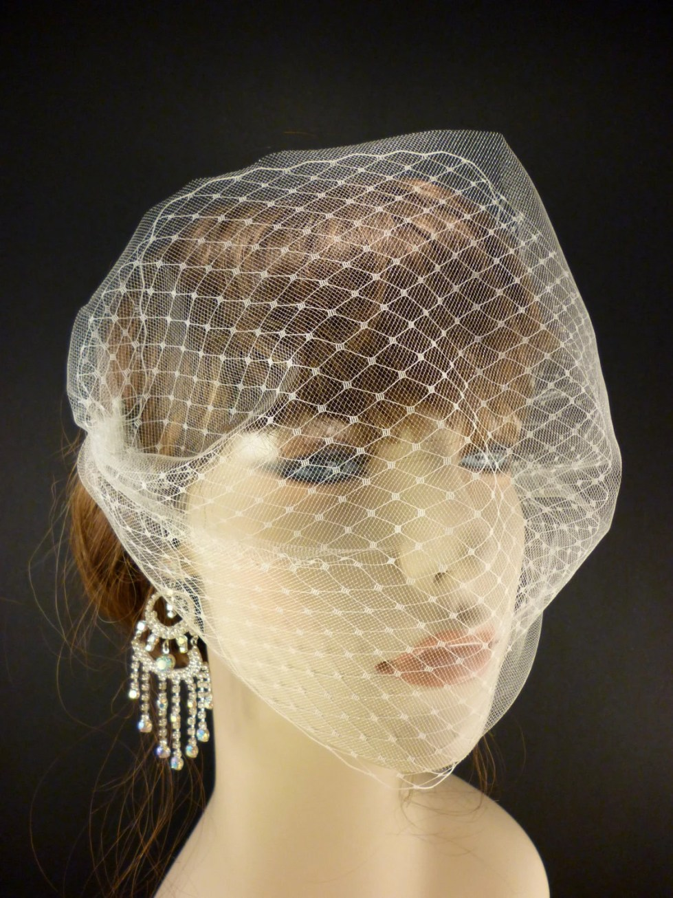 "The French Illusion Double layer Tulle Veil in Ivory 9"" x 15"""