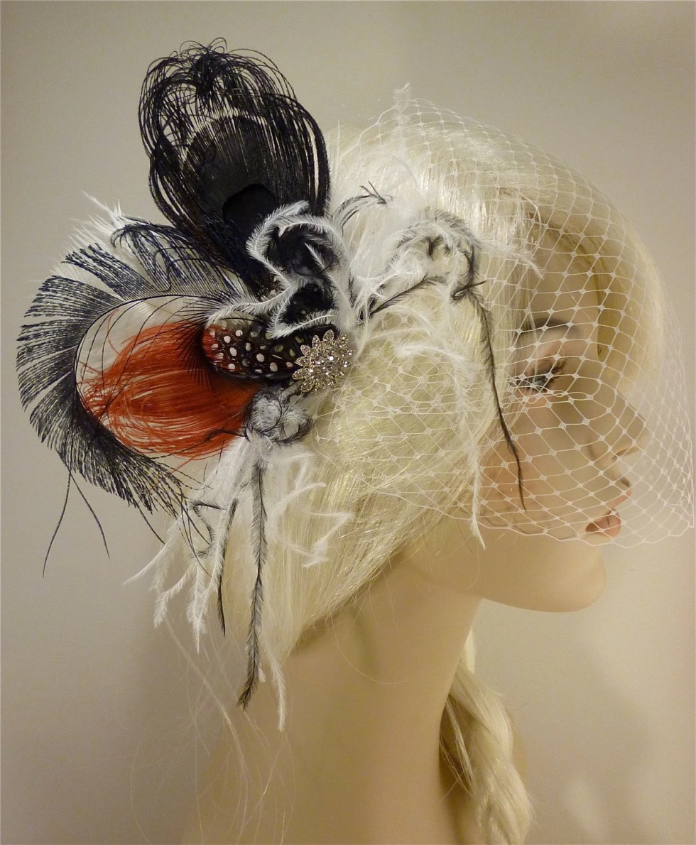 Fancy Peacock - Feather Bridal Fascinator, Feather Fascinator, Bridal Fascinator, Rhinestone Hair clip, Wedding Veil, Black, White and Red