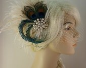 Rhinestone Pearl Bridal Feather Fascinator, Bridal Headpiece, Wedding Veil, Holly's Old Hollywood, Ivory, Champagne and Natural Peacock