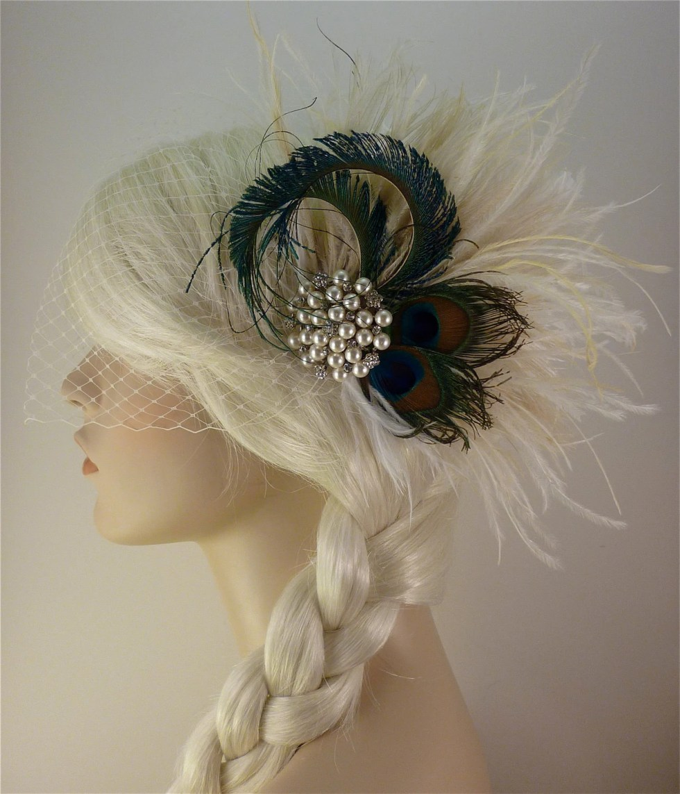 Wedding Hair Clip ,Feather Fascinator, Bridal Accessory, Wedding Veil, Holly's Old Hollywood, Ivory, Champagne and Natural Peacock