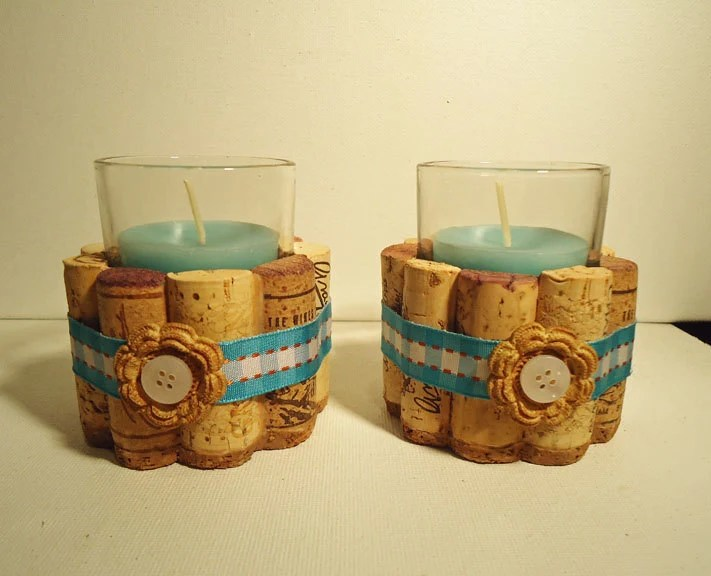 Upcycled Wine Cork Votive Candle Holders Blue