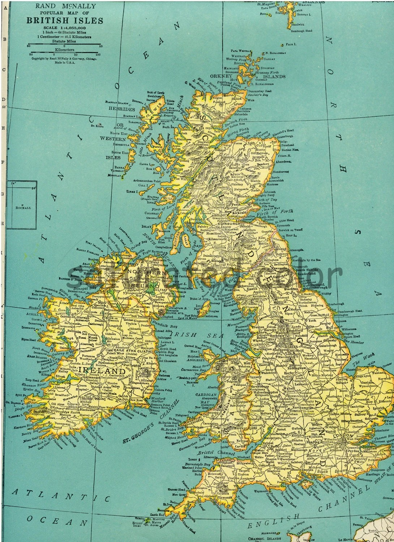 British Isles Map England Ireland Wales United By