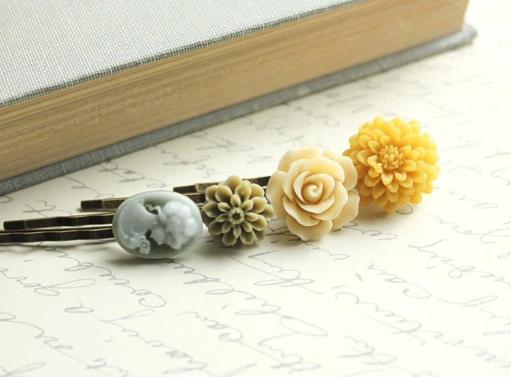 Floral Hair Accessories, Honey Gold, Yellow Flowers, Olive Green, Cameo, Rose, Flower Bobby Pins,Flowers for Hair -  Set of Four (4) - apocketofposies