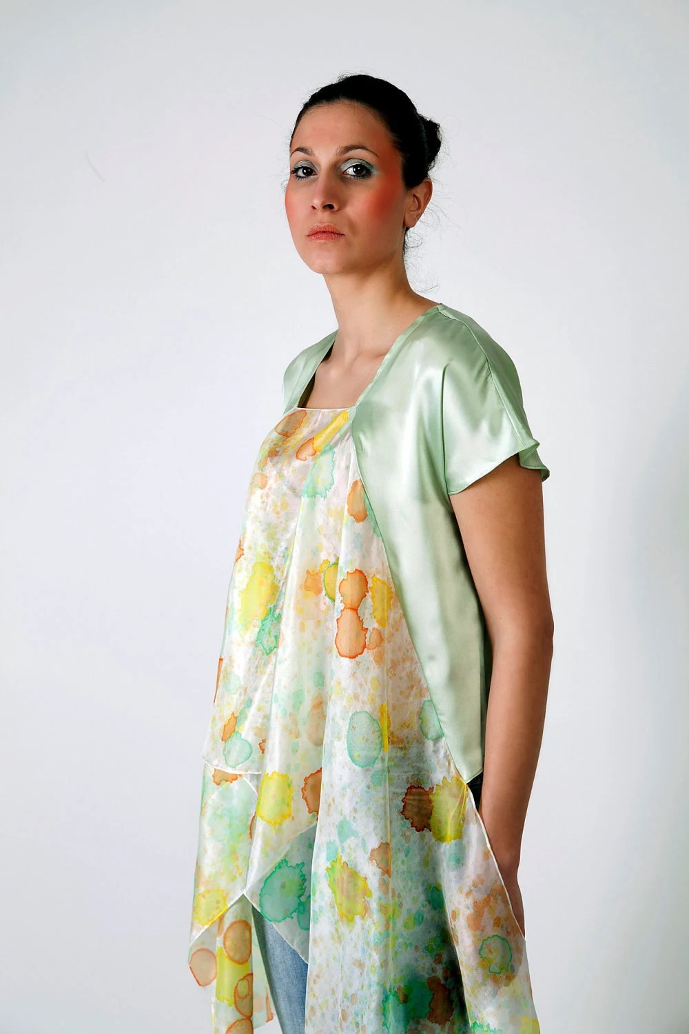 SUMMER SALE Summer pastel fashion shirt hand painted medium small -ready to ship- - Relogyyy