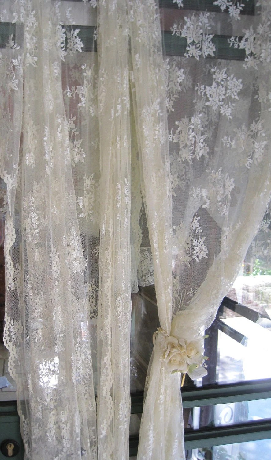 Pair Of Ivory Lace Curtains Sheer Long Curtains By Anteeka