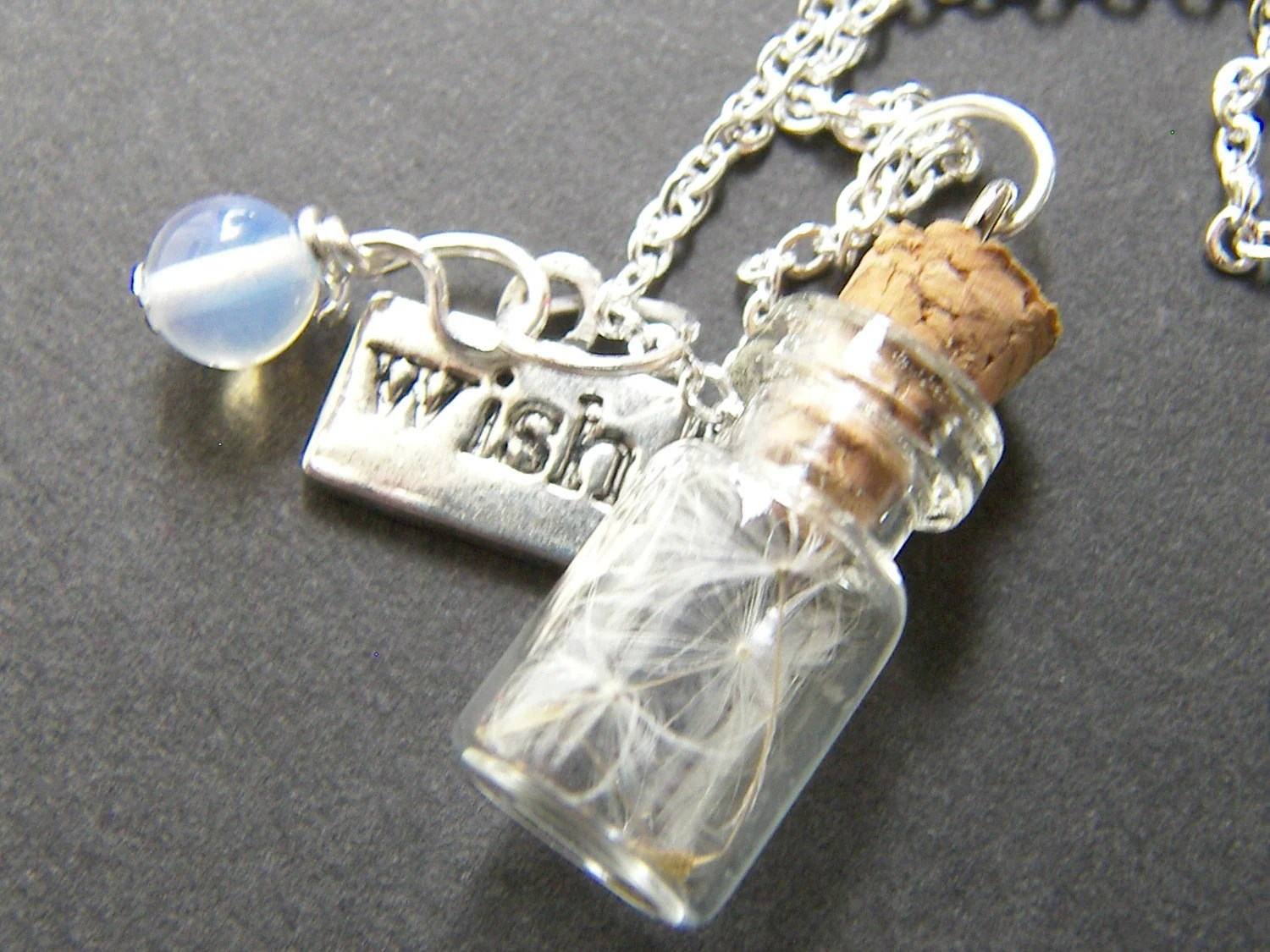 Glass Vial With Dandelion Seeds Charm Necklace Make A Wish