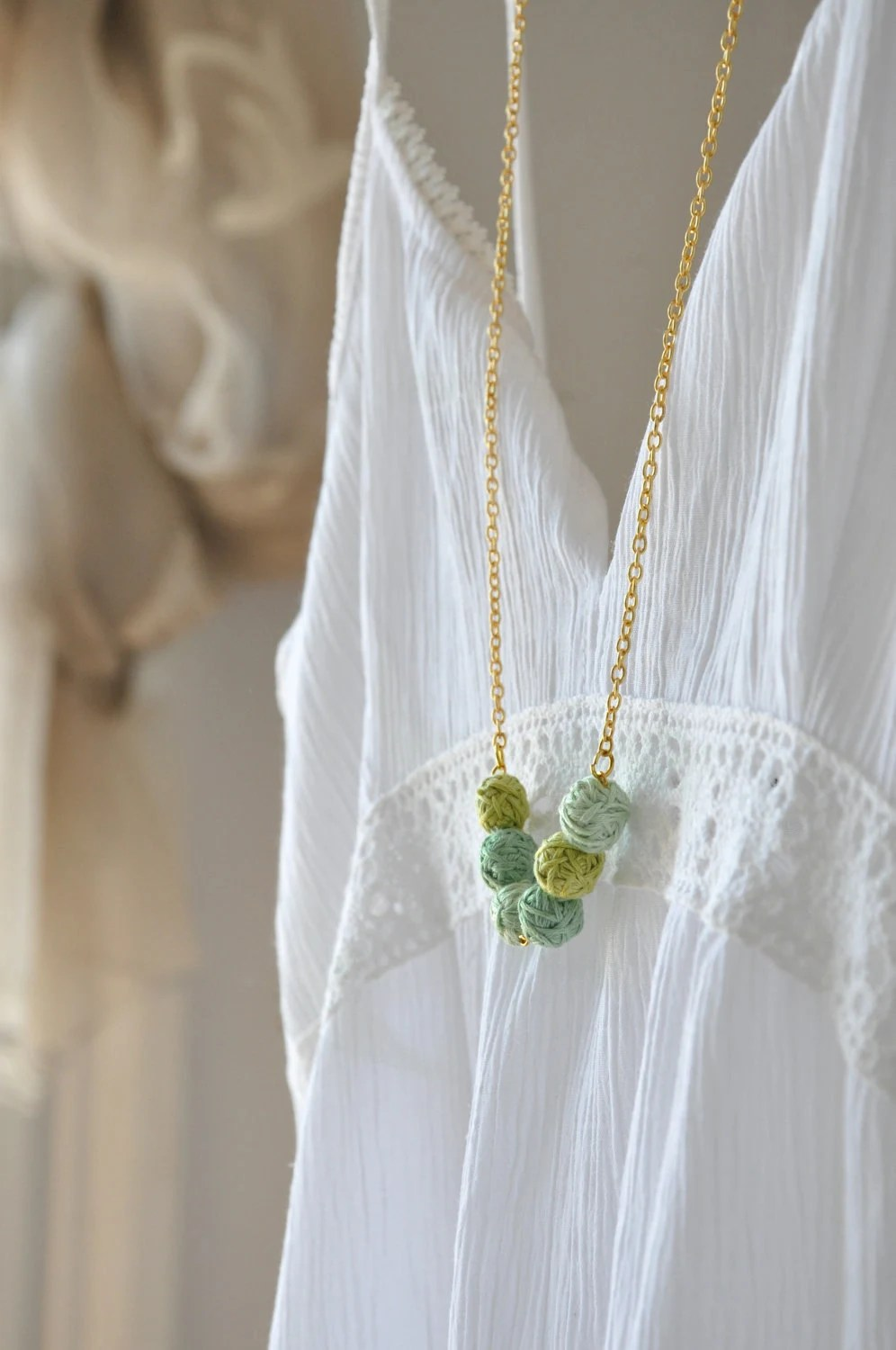 Mint Green Necklace Statement Nature Gold Necklace Handmade Beads Fall Fashion  Autumn Accessories Bridesmade  Fabric Textile Jewelry - stellacreations