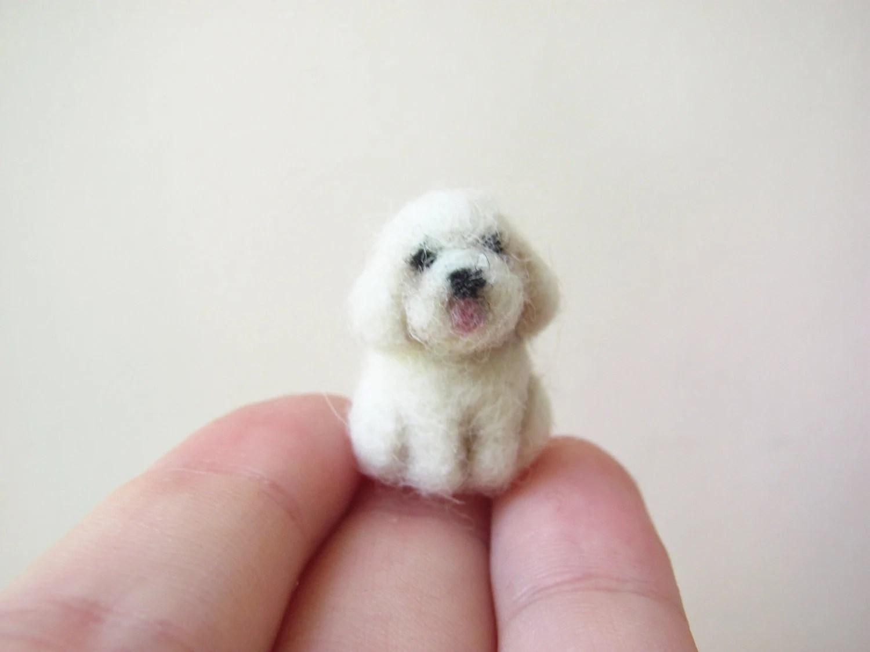 Tiny needle felted bichon - HandmadeByNovember
