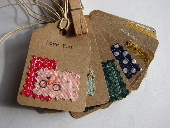 Items Similar To Sewn Fabric And Hand Typed Kraft Paper