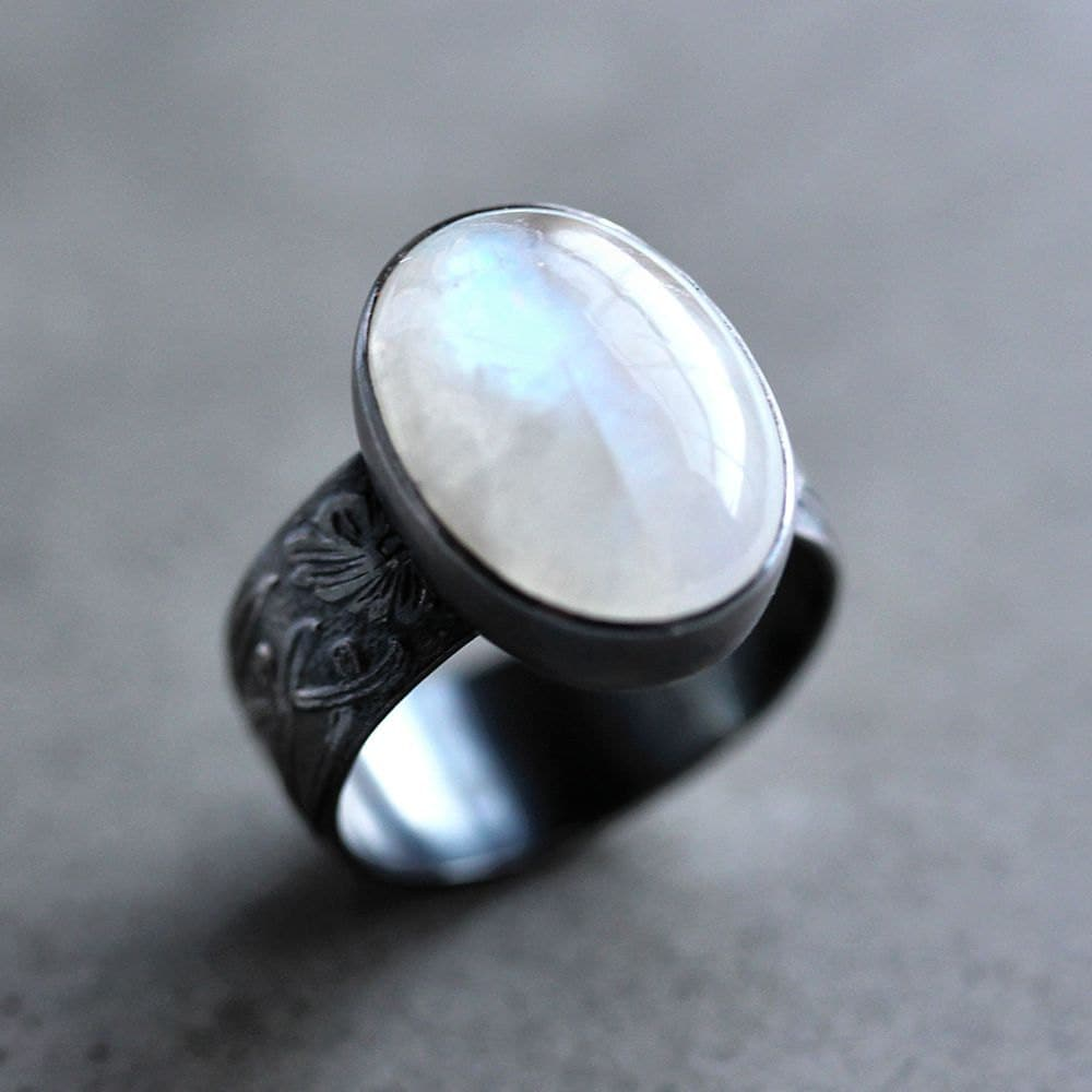 Moonstone Ring Snow White Rainbow Moonstone Wide Band