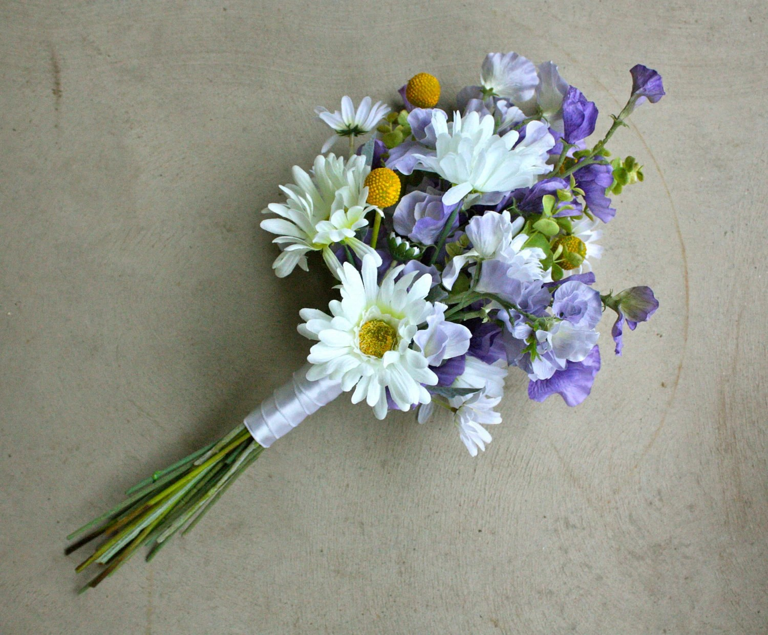 Daisy Sweet Pea And Billy Balls Artificial Wedding Bouquet