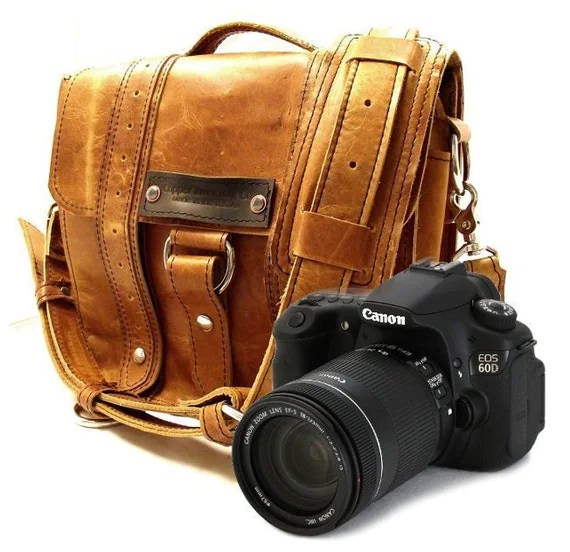 Camera Safari Bag - Serengeti - Full Grain Leather - Medium Padded Camera Insert - Hand Crafted - Made in the U.S.A. - Water Resistant
