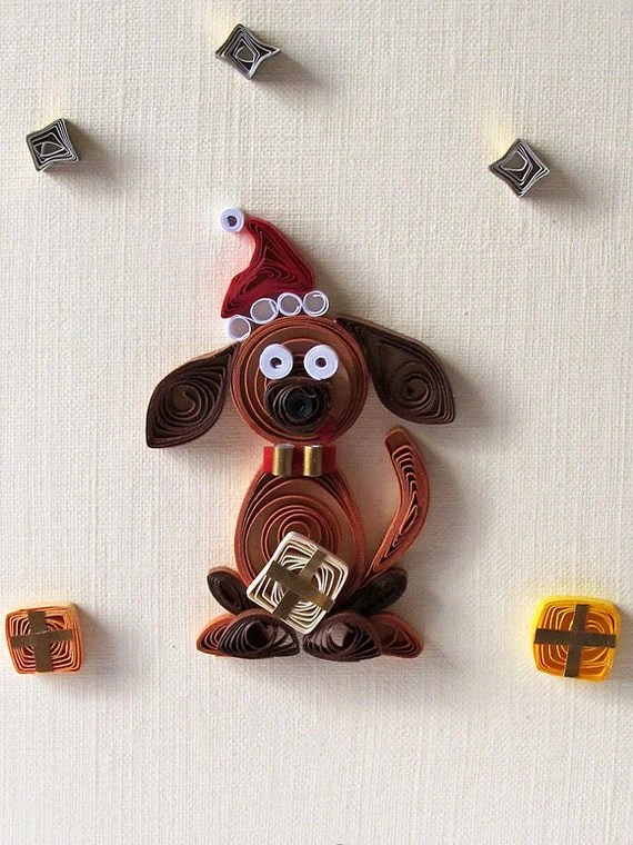 Quilled Cute Dog FOR CHILDREN Christmas Greeting Card