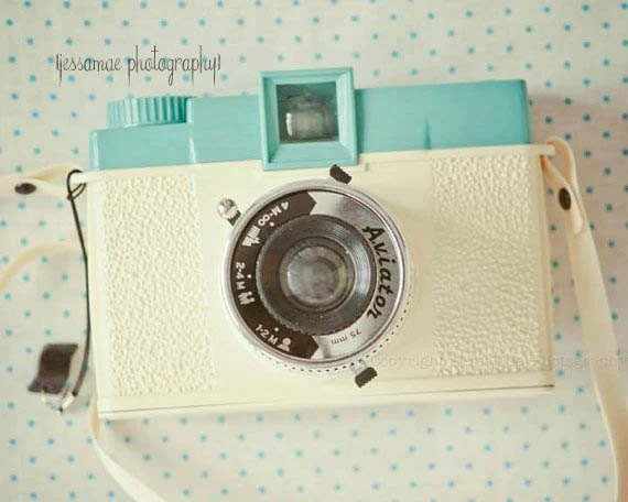 Diana Camera Photography Print - Pretty in Pastels Diana - Cream Turquoise Polka Dot Retro Camera Wall Art (5x7) Aqua Camera Art - JessaMaePhoto
