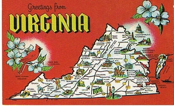 Vintage Postcard State Map Virginia Postcard Map America