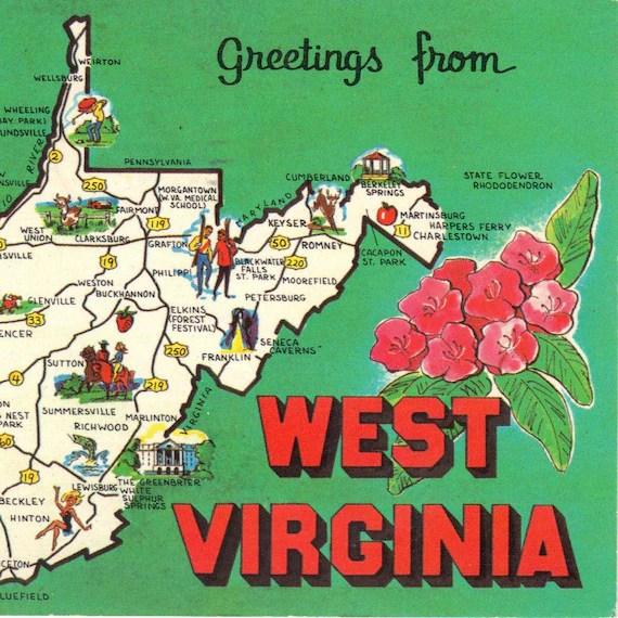 Vintage Postcards West Virginia State Maps