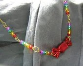 Rainbow and Red Candy Necklace - Handmade by Rewondered D225N-99276