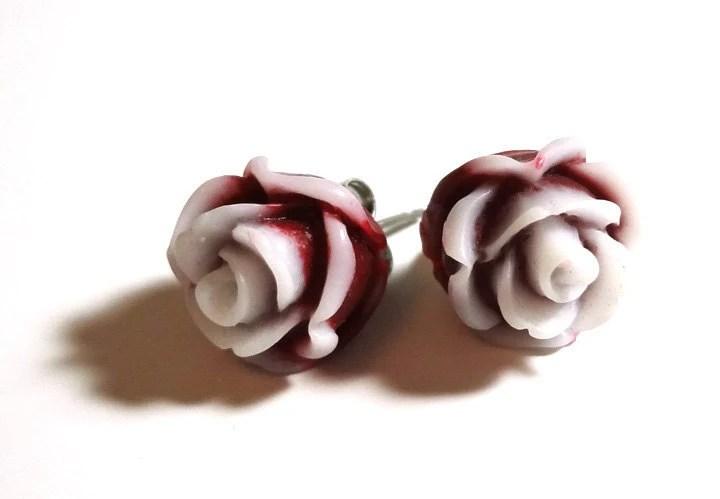 Cute Dark Red Rose Earrings - Glamour365