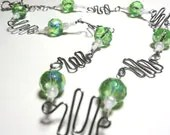 Green Wire Necklace Jewelry -- Zig Zag Wire Design with White Beads and Green Gem Cut Glass Beads Silver Toned Wire - Glamour365