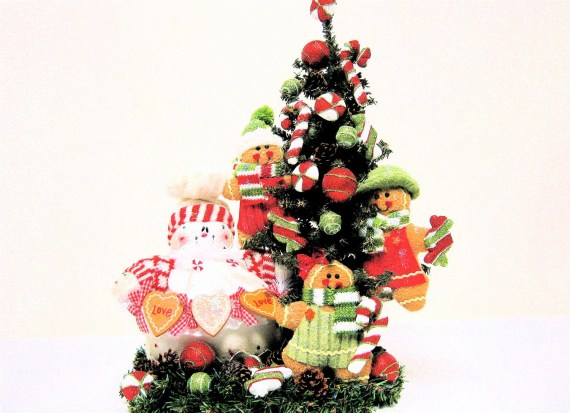 Christmas Arrangement  Snowman and Gingerbread Centerpiece Red Lime Green White 24Hx15Wx8D - SandyNewhartDesigns