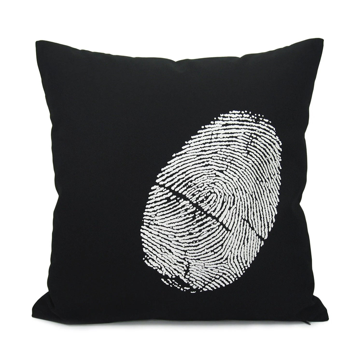 16x16 black throw pillow cover with white fingerprint - Thumbprint - Industrial home decor - Black and white decorative pillow case - ClassicByNature