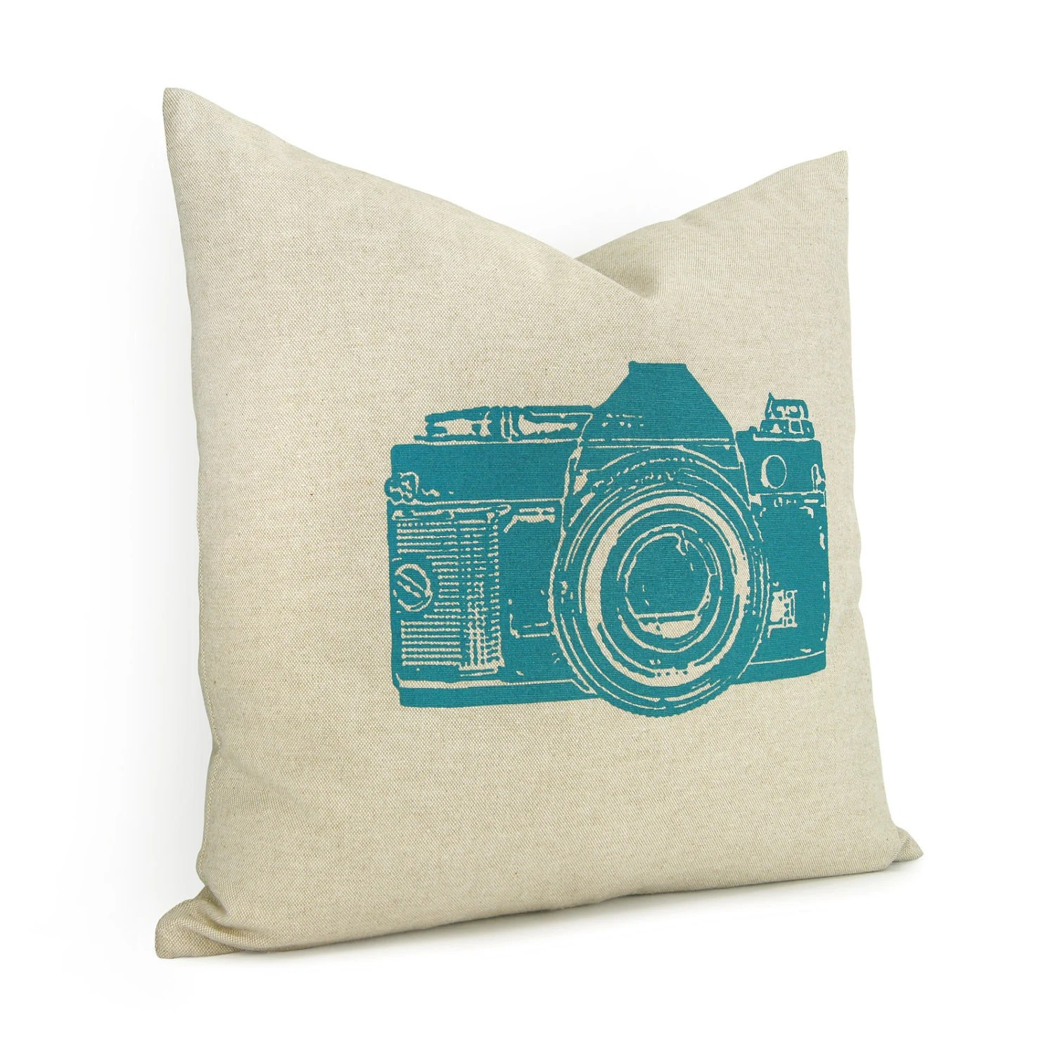 Camera pillow case - Teal blue vintage camera print on natural cotton canvas throw pillow case - 16x16 decorative pillow cover