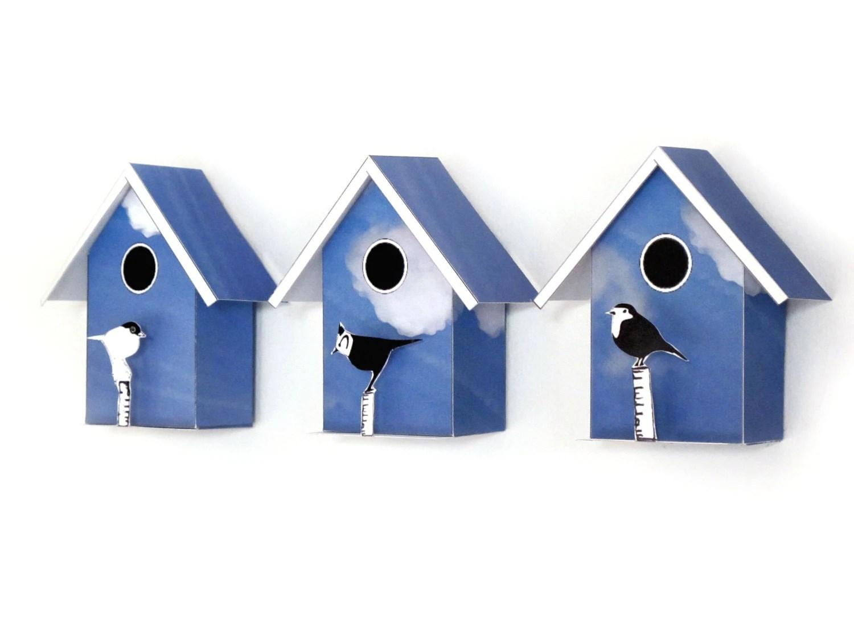 3 Small Birdhouses Printable Diy Kits Decorative Mini