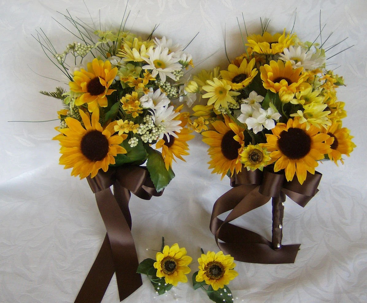 Sunflower And Daisy Bridal Bouquets By ChurchMouseCreations