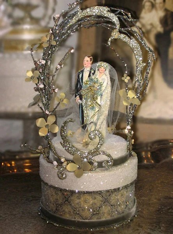 1920s Gold Deco Wedding Cake Topper Keepsake Box