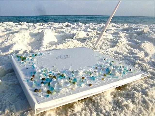 Beach Wedding Hand Decorated Guest Book 11x 10