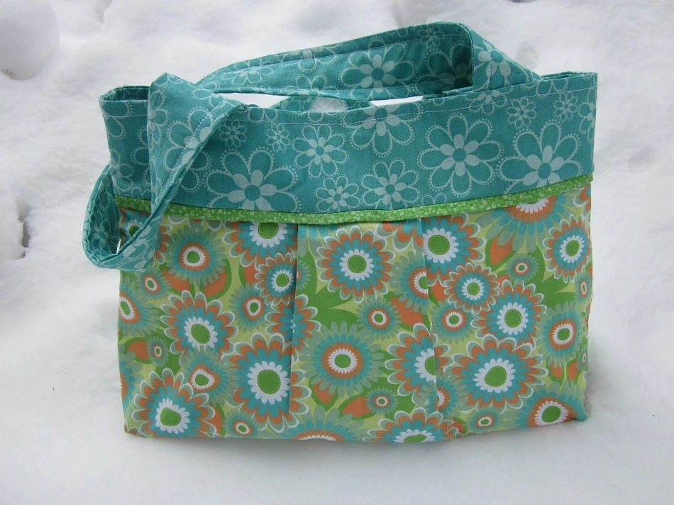 Totebag, handbag, orange, green, aqua, floral